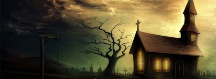 Halloween Isolated Scary Church Facebook Covers