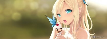 Anime Girl Eating Ice Cream Butter Fly On Top Cool Facebook Timeline Covers Facebook Covers