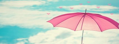 Cute Pink Umbrella Facebook Covers