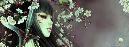 Girl In Flowers Warrior Lip Ring Anime Facebook Cover Facebook Covers